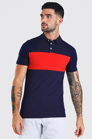 Red Muscle Fit Colour Block Polo