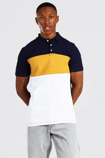 Mustard yellow Muscle Fit Colour Block Pique Polo