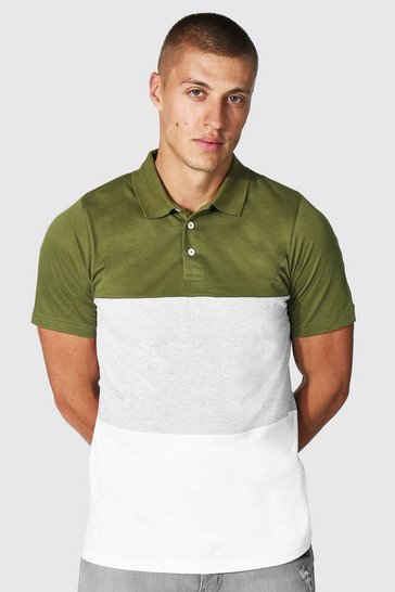 Khaki Slim Fit Colour Block Polo