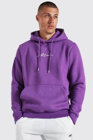 Purple Man Signature Over The Head Hoodie