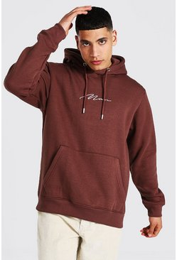 Chocolate brown Man Signature Over The Head Hoodie