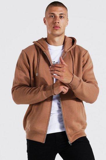 Brown Zip Through Hoodie