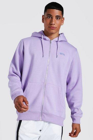 Lilac purple Original Man Zip Through Hoodie