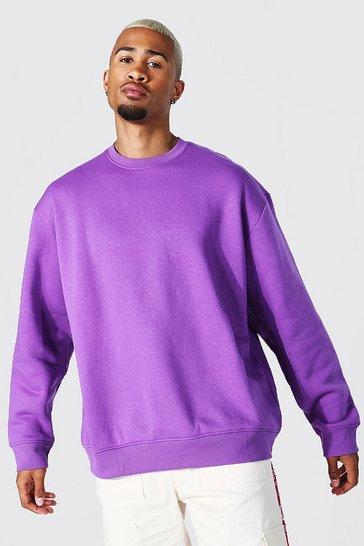 Purple Oversized Crew Neck Sweatshirt