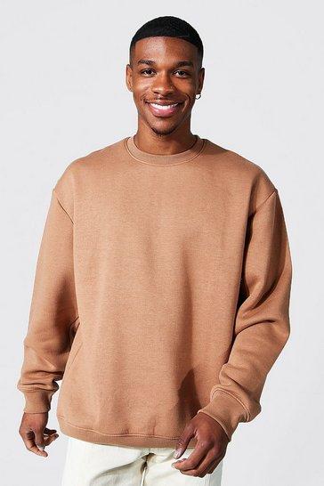 Brown Oversized Crew Neck Sweatshirt
