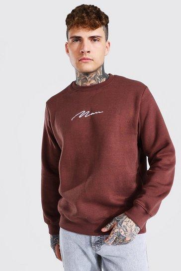 Chocolate brown Man Signature Crew Neck Sweatshirt