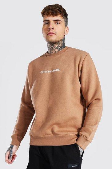 Brown Official Man Crew Neck Sweatshirt