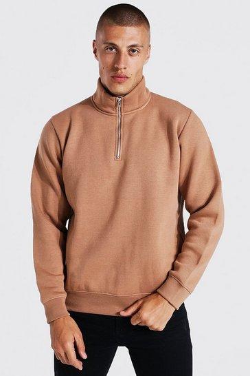 Brown 1/2 Zip Funnel Neck Sweatshirt