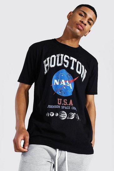Black Oversized Nasa Houston License T-shirt