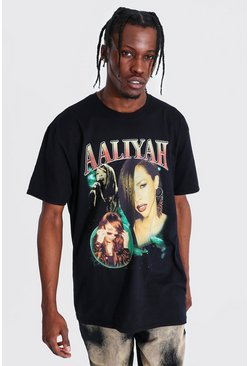 Black Oversized Aaliyah Homage License T-shirt