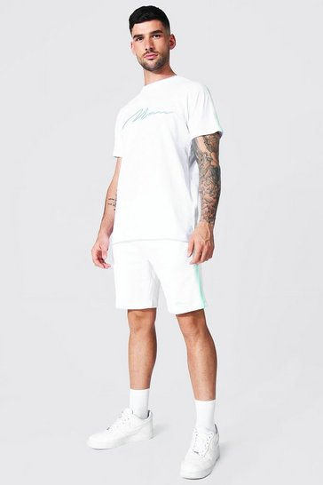 White 3d Man Embroidered Tape Tee and Short Set