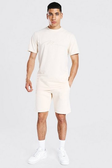 Sand beige 3d Man Embroidered T-shirt and Short Set