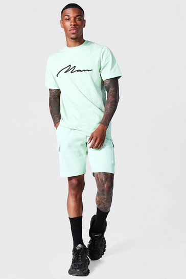 Sage green 3d Man Embroidered Cargo T-shirt and Short Set