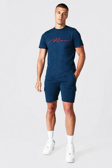 Navy 3d Man Embroidered Cargo T-shirt and Short Set