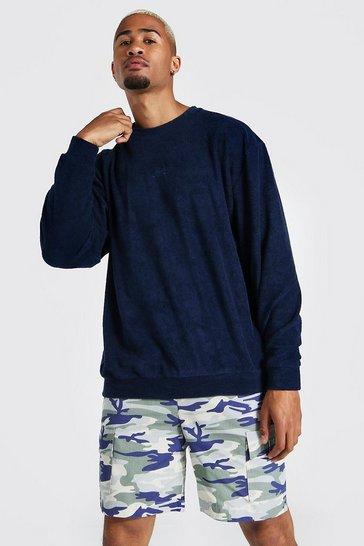 Navy Oversized Offcl Towelling Sweatshirt