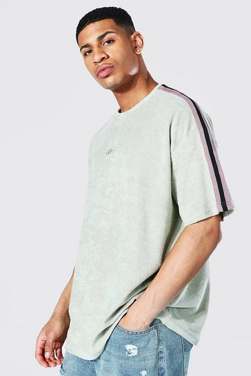 Sage green Oversized Offcl Towelling Tape T-shirt