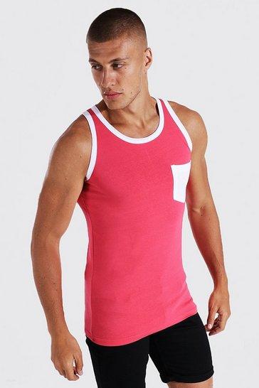 Pink Muscle Fit Contrast Pocket Vest