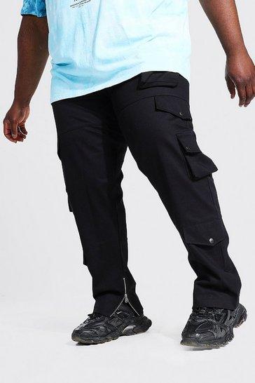 Black Plus Fixed Waistband Slim Twill Cargo Trouser
