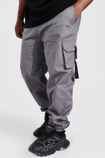 Slate grey Plus Original Man Twill Buckle Joggers