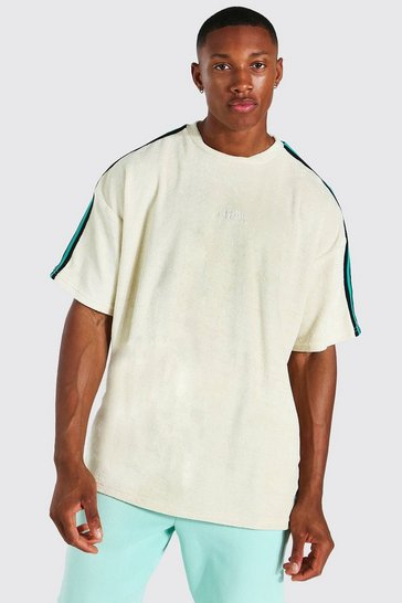 Ecru white Oversized Offcl Towelling Tape T-shirt