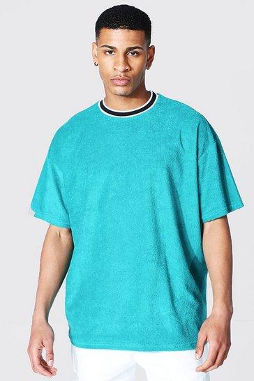 Teal green Oversized Sports Rib Towelling T-shirt
