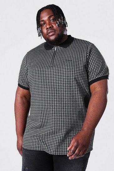 Black Plus Size Man Script Jacquard Tipping Polo