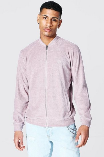 Bark brown Offcl Zip Through Towelling Bomber
