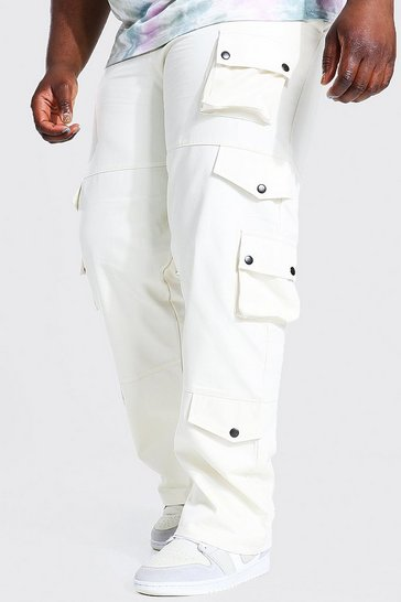 Ecru white Plus Fixed Waistband Slim Twill Cargo Trouser