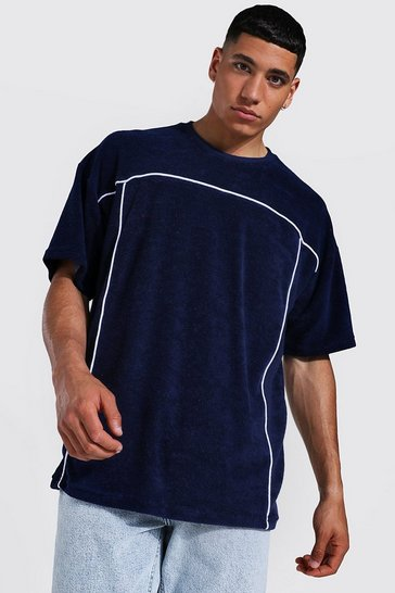Navy Oversized Towelling Piping T-shirt