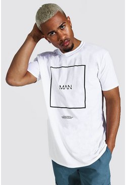White Oversized Original Man Box Print T-shirt