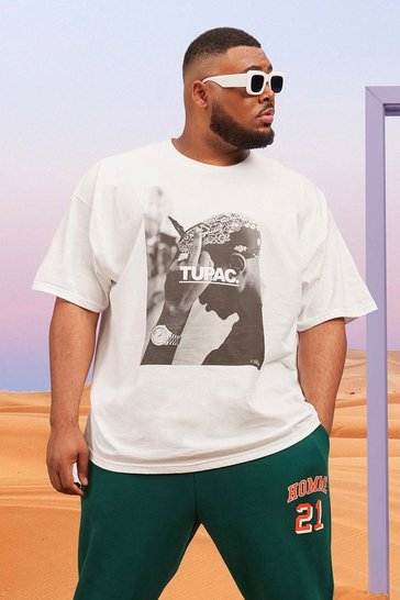 White Plus Size Tupac License T-shirt