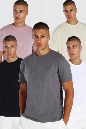 Multi 5 Pack Oversized Crew Neck T-shirt