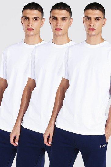 White 3 Pack Basic Crew Neck T-shirt