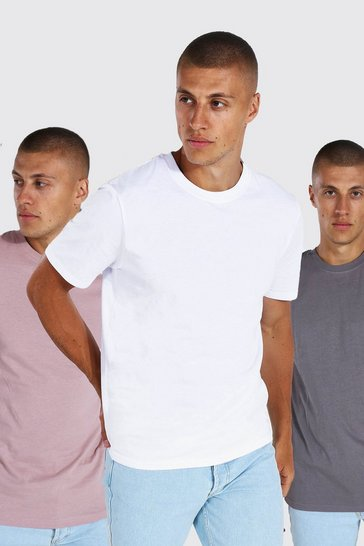 Multi 3 Pack Basic Crew Neck T-shirt