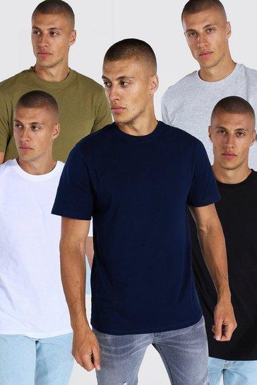 Multi 5 Pack Basic Crew Neck T-shirt