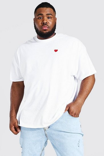 White Plus Size Heart Embroidered T-shirt