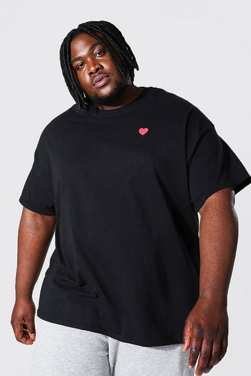Black Plus Size Heart Embroidered T-shirt
