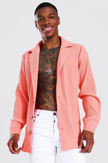Coral pink Long Sleeve Revere Pleated Shirt
