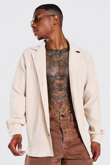 Taupe beige Long Sleeve Revere Pleated Shirt