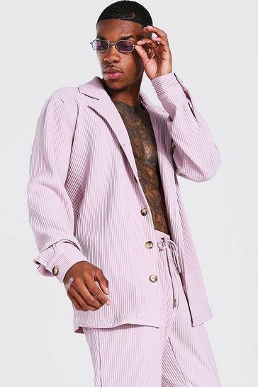 Mauve purple Long Sleeve Revere Pleated Shirt