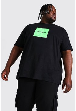 Black Plus Size Pasadena Box Print T-shirt