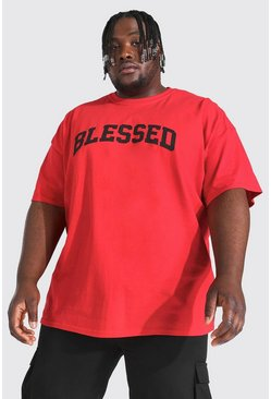 Red Plus Size Blessed Slogan Print T-shirt
