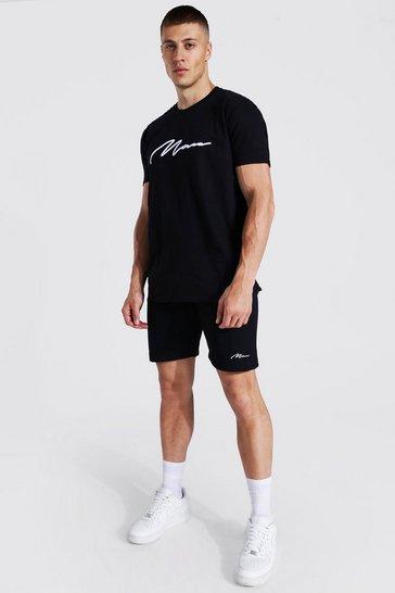 Black 3d Man Embroidered T-shirt & Short Set