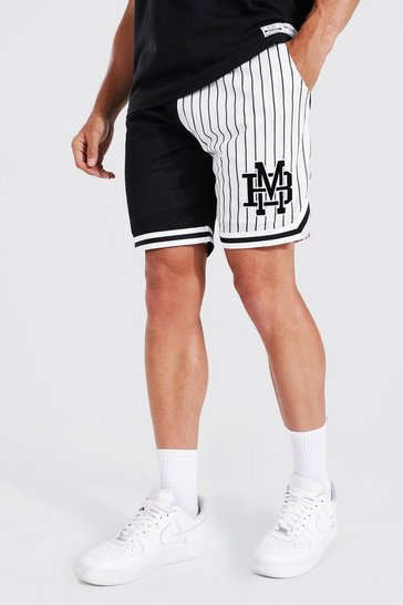 Black Spliced Striped Mesh Basketball Tape Shorts