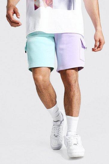 Multi Slim Spliced Utility Cargo Jersey Shorts