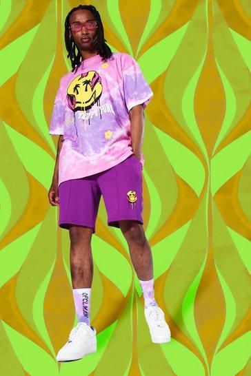 Purple Oversized Drip Face Tie Dye Short Set