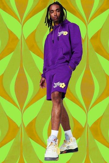 Purple Oversized Flower Print Short Tracksuit