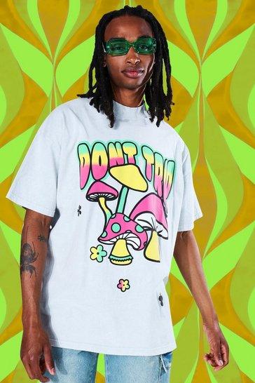Grey Oversized Mushroom Graphic Washed T-shirt