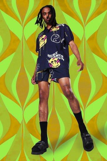 Black Oversized Viscose Trippy Shirt And Swim Short