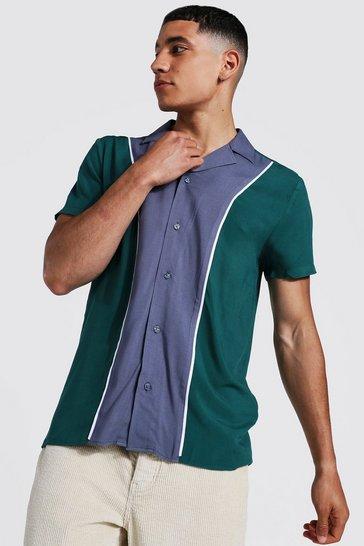 Forest green Short Sleeve Colour Block Panel Shirt